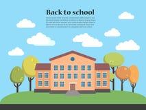 Ejemplo del vector de la construcción de escuelas con paisaje De nuevo a modelo de la escuela Imagen de archivo libre de regalías