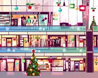 Ejemplo del vector de la escalera móvil de las tiendas de la alameda de la Navidad stock de ilustración