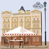 Ejemplo del vector de la escena de la calle con el café stock de ilustración