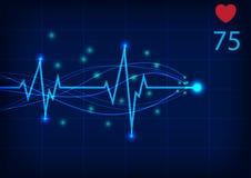 Ejemplo del vector de la exhibición del monitor del electrocardiograma Foto de archivo libre de regalías