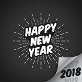 Ejemplo del vector de la Feliz Año Nuevo 2018 con la desaparición de 2017 y de 2019 con el fondo brillante - Fotos de archivo libres de regalías