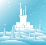 Ejemplo del vector de la Feliz Navidad con el castillo de reina de la nieve en bosque congelado del invierno Foto de archivo libre de regalías