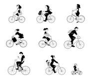 Ejemplo del vector de la gente en la bici imagen de archivo libre de regalías