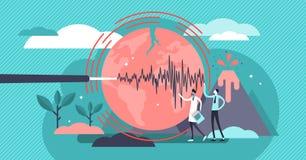 Ejemplo del vector de la geología Concepto minúsculo plano de las personas del terremoto del volcán ilustración del vector