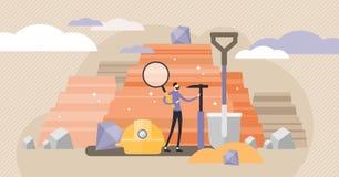 Ejemplo del vector de la geología Concepto minúsculo plano de la persona de la industria de la ciencia de suelo ilustración del vector