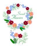 Ejemplo del vector de la guirnalda colorida hermosa de la flor Foto de archivo