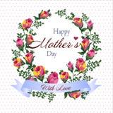 Ejemplo del vector de la guirnalda de la flor con el saludo feliz del día del ` s de la madre Imagen de archivo