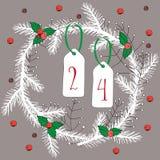Ejemplo del vector de la guirnalda de la Navidad blanca con las bayas y de los números 24 en fondo gris Fotografía de archivo