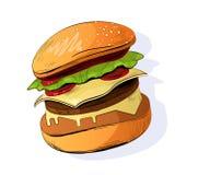 Ejemplo del vector de la hamburguesa Icono de los alimentos de preparación rápida ilustración del vector
