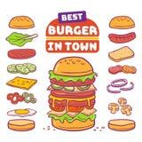 Ejemplo del vector de la hamburguesa y del ingrediente libre illustration