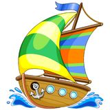 Ejemplo del vector de la historieta del barco de navegación ilustración del vector