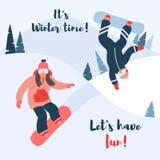 Ejemplo del vector de la historieta de la snowboard ilustración del vector