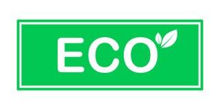 Ejemplo del vector de la hoja del verde del icono de Eco aislado stock de ilustración