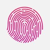 Ejemplo del vector de la identificación app de la huella dactilar del tacto del círculo Imagen de archivo libre de regalías