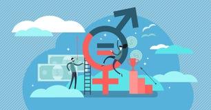 Ejemplo del vector de la igualdad de género Concepto minúsculo plano del sex symbol de las personas libre illustration