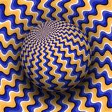 Ejemplo del vector de la ilusión óptica Esfera modelada ondulada anaranjada azul altísima sobre la misma superficie libre illustration