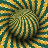 Ejemplo del vector de la ilusi?n ?ptica Los hexágonos verdes amarillos modelaron la esfera altísima sobre la misma superficie stock de ilustración