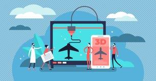 ejemplo del vector de la impresión 3D Concepto plástico de las personas del añadido minúsculo plano stock de ilustración