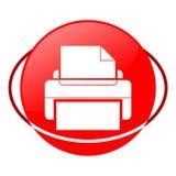 Ejemplo del vector de la impresora, icono rojo Foto de archivo libre de regalías
