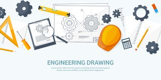 Ejemplo del vector de la ingeniería y de la arquitectura Dibujo y construcción Proyecto arquitectónico El bosquejar del diseño stock de ilustración
