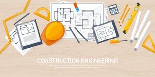 Ejemplo del vector de la ingeniería y de la arquitectura Dibujo y construcción Proyecto arquitectónico El bosquejar del diseño libre illustration