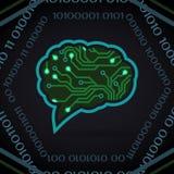 Ejemplo del vector de la inteligencia artificial de la placa de circuito en oscuridad stock de ilustración