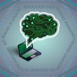 Ejemplo del vector de la inteligencia artificial de la placa de circuito y del ordenador portátil en gris claro libre illustration