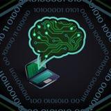 Ejemplo del vector de la inteligencia artificial de la placa de circuito y del ordenador portátil en oscuridad stock de ilustración