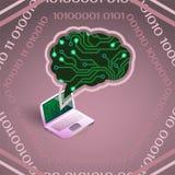 Ejemplo del vector de la inteligencia artificial de la placa de circuito y del ordenador portátil en rosa stock de ilustración