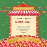 Ejemplo del vector de la invitación de la tarjeta de la celebración de la fiesta de cumpleaños Foto de archivo libre de regalías
