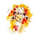 Ejemplo del vector de la jirafa para la camiseta El retrato de la jirafa del safari con el fondo watercolored y salpica stock de ilustración