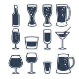 Ejemplo del vector de la línea iconos de la bebida Foto de archivo