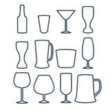 Ejemplo del vector de la línea iconos de la bebida Fotografía de archivo