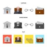 Ejemplo del vector de la ley y del símbolo del abogado Sistema del icono del vector de la ley y de la justicia para la acción stock de ilustración