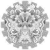 Ejemplo del vector de la máscara del movimiento del negro del guerrero de Sun del Azteca ilustración del vector