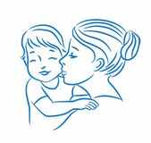 Ejemplo del vector de la madre y de su bebé Imagen de archivo