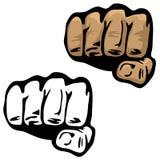 Ejemplo del vector de la mano del puño en color y blanco y negro libre illustration