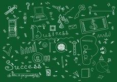 Ejemplo del vector de la materia del garabato del negocio Silueta de los símbolos del negocio aislada en fondo verde Fotos de archivo