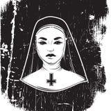 Ejemplo del vector de la monja con la cruz Imágenes de archivo libres de regalías