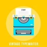 Ejemplo del vector de la máquina de escribir plana del vintage Imágenes de archivo libres de regalías