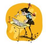 Ejemplo del vector de la muchacha y del ordenador portátil libre illustration