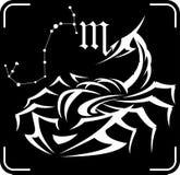 Ejemplo del vector de la muestra del zodiaco del escorpión Foto de archivo libre de regalías