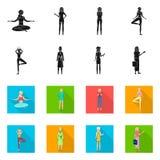 Ejemplo del vector de la muestra de la postura y del humor Colecci?n de postura y de ejemplo com?n femenino del vector ilustración del vector