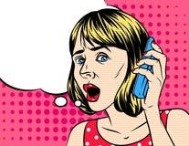 Ejemplo del vector de la mujer que habla por el teléfono Foto de archivo libre de regalías