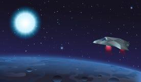 Ejemplo del vector de la nave espacial que vuela sobre el planeta extranjero a la estrella azul del sol en espacio abierto ilustración del vector