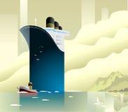Ejemplo del vector de la nave y del barco del transbordador del art déco Imagenes de archivo