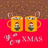Ejemplo del vector de la Navidad acogedora con las tazas de chocolate caliente imagen de archivo libre de regalías