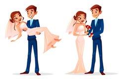 Ejemplo del vector de la novia y del novio de la boda de los pares ilustración del vector