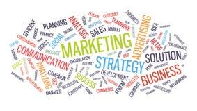 Nube de la palabra de la estrategia empresarial del márketing Foto de archivo libre de regalías