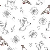 Ejemplo del vector de la paloma y de la paloma con los corazones, las flores y la clave de sol stock de ilustración